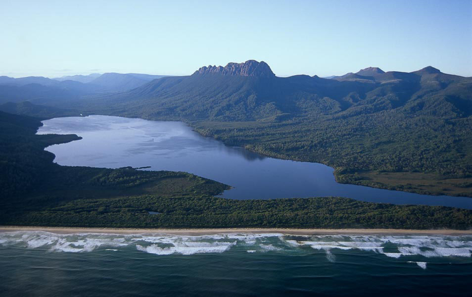 Prion Beach & New River Lagoon, the potential site of a commercial hut development on the South Coast, Tasmanian Wilderness World Heritage Area. Photo: Grant Dixon