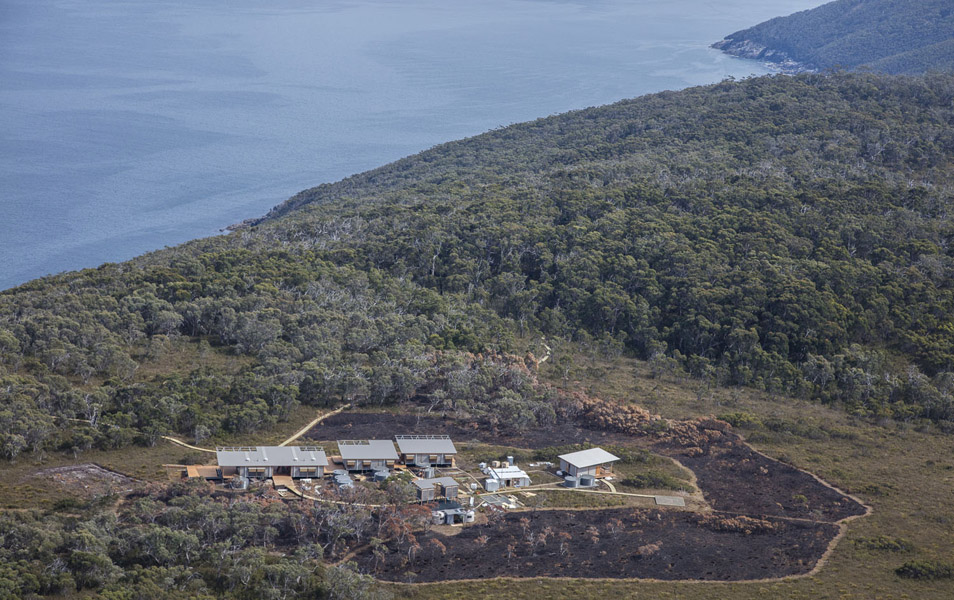 Surveyors Cove hut, Three Capes Track, the largest infrastructure complex ever built in a remote Tasmanian park. Photo: Rob Blakers