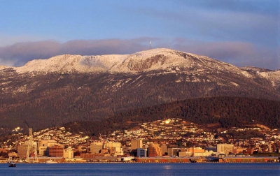 kunanyi/Mt Wellington and Hobart city. Photo: Grant Dixon